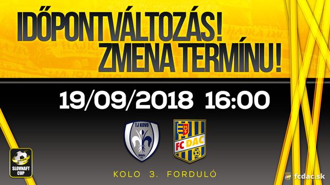 Slovnaft Cup: Változás a DAC következő kupamérkőzésével kapcsolatban